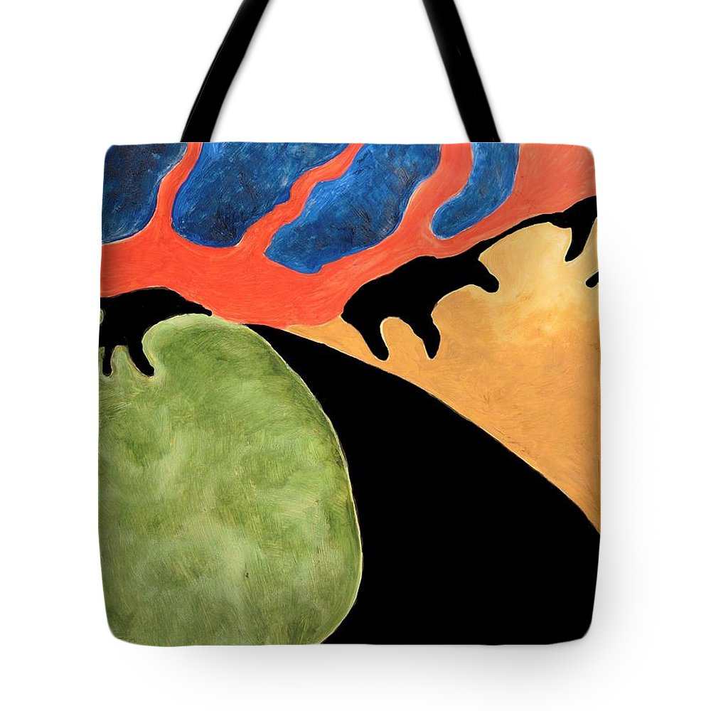 Abstract Tote Bag featuring the painting Gombean Dream by Zodiak Paredes