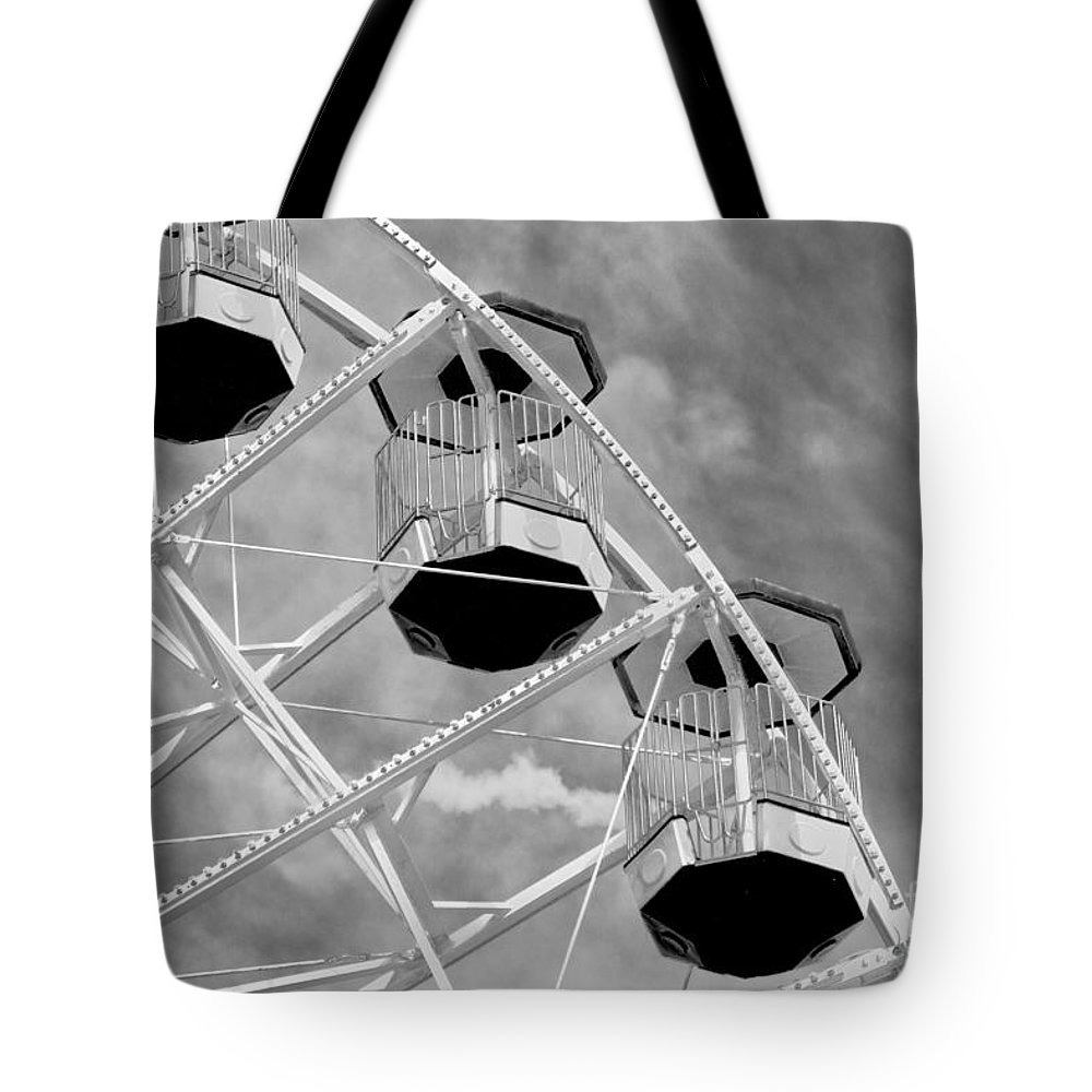 Outdoors Tote Bag featuring the photograph Gondolas Black And White by Tom Gari Gallery-Three-Photography