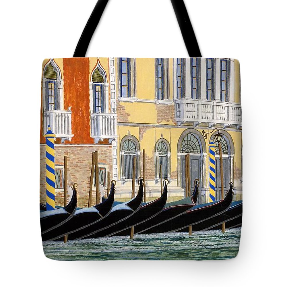 Landscape Tote Bag featuring the painting Gondolas On The Grand Canal by David Hinchen