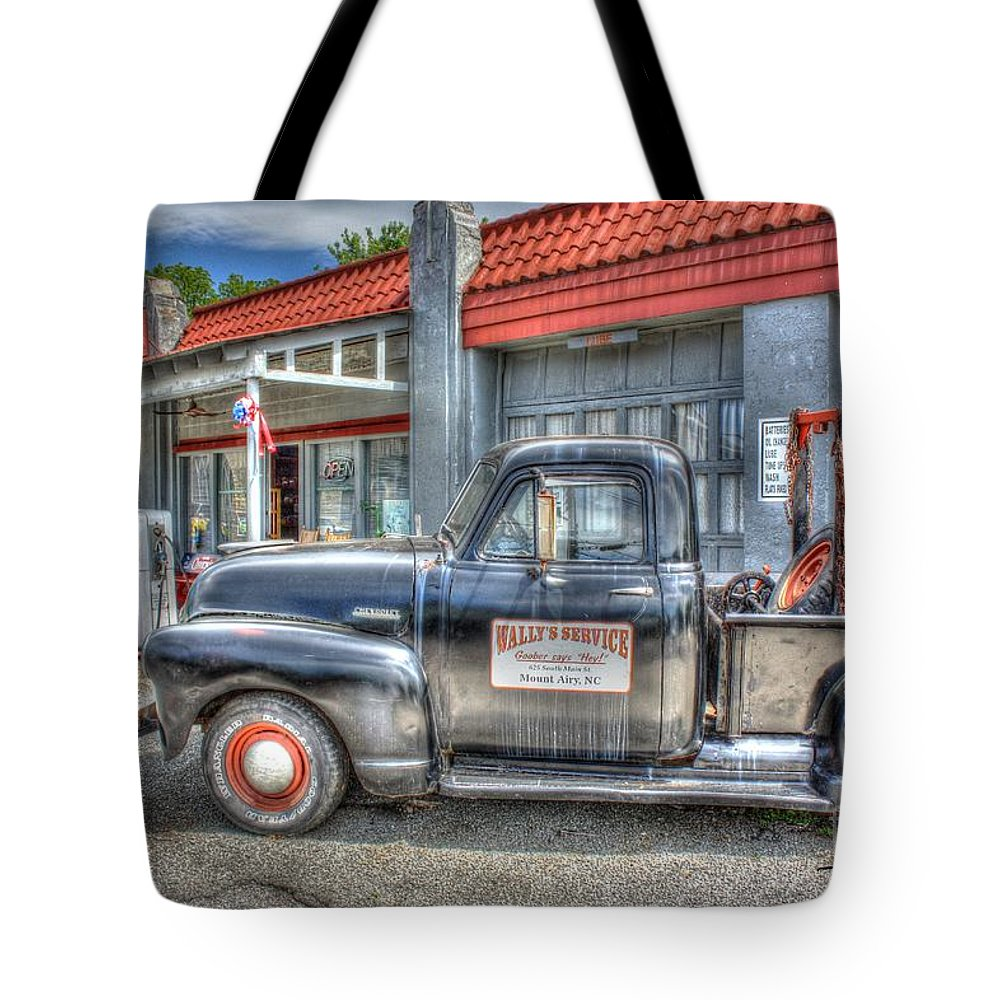 Gasoline Tote Bag featuring the photograph Goober Says Hey by Dan Stone