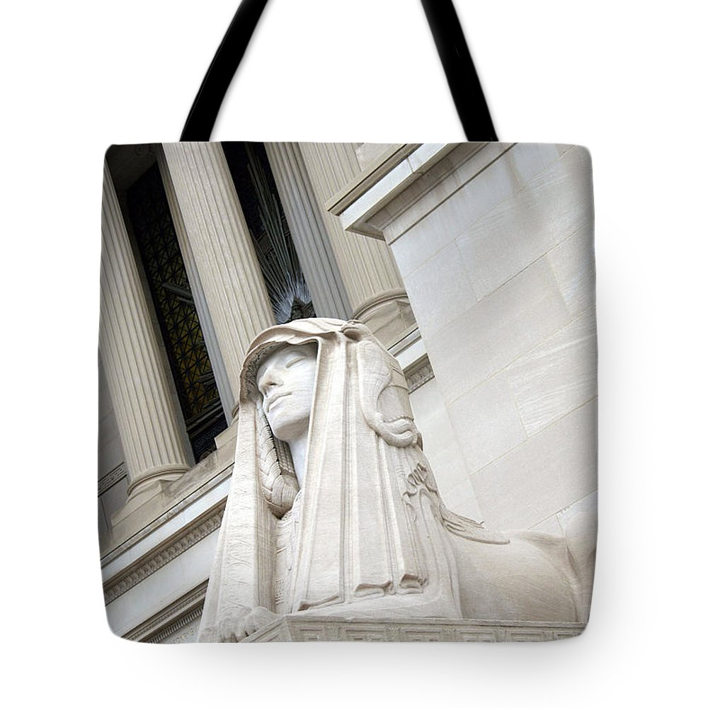 Sphinx Tote Bag featuring the photograph Good Day Sweetie -- A Friendly Sphinx by Cora Wandel