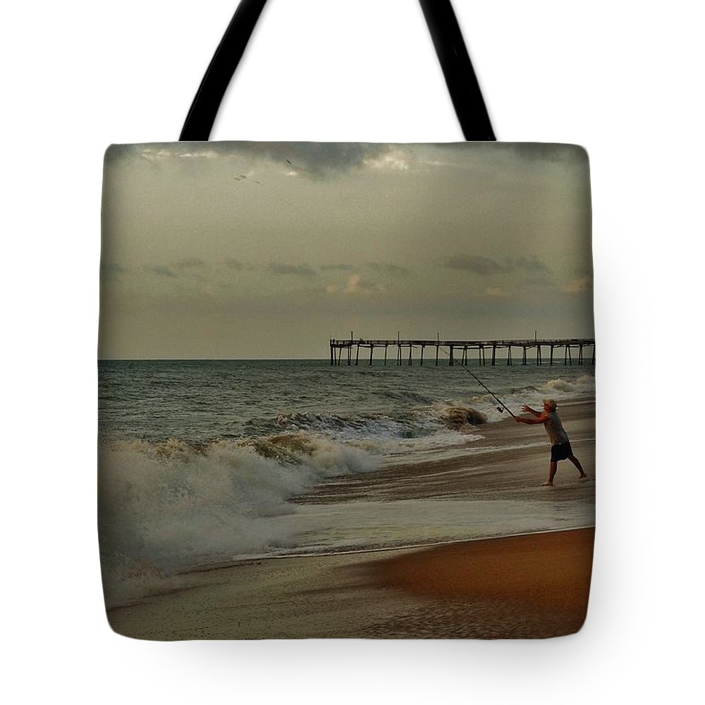 Mark Lemmon Cape Hatteras Nc The Outer Banks Photographer Subjects From Sunrise Tote Bag featuring the photograph Good Things Come To Those Who Bait 16 9/3 by Mark Lemmon