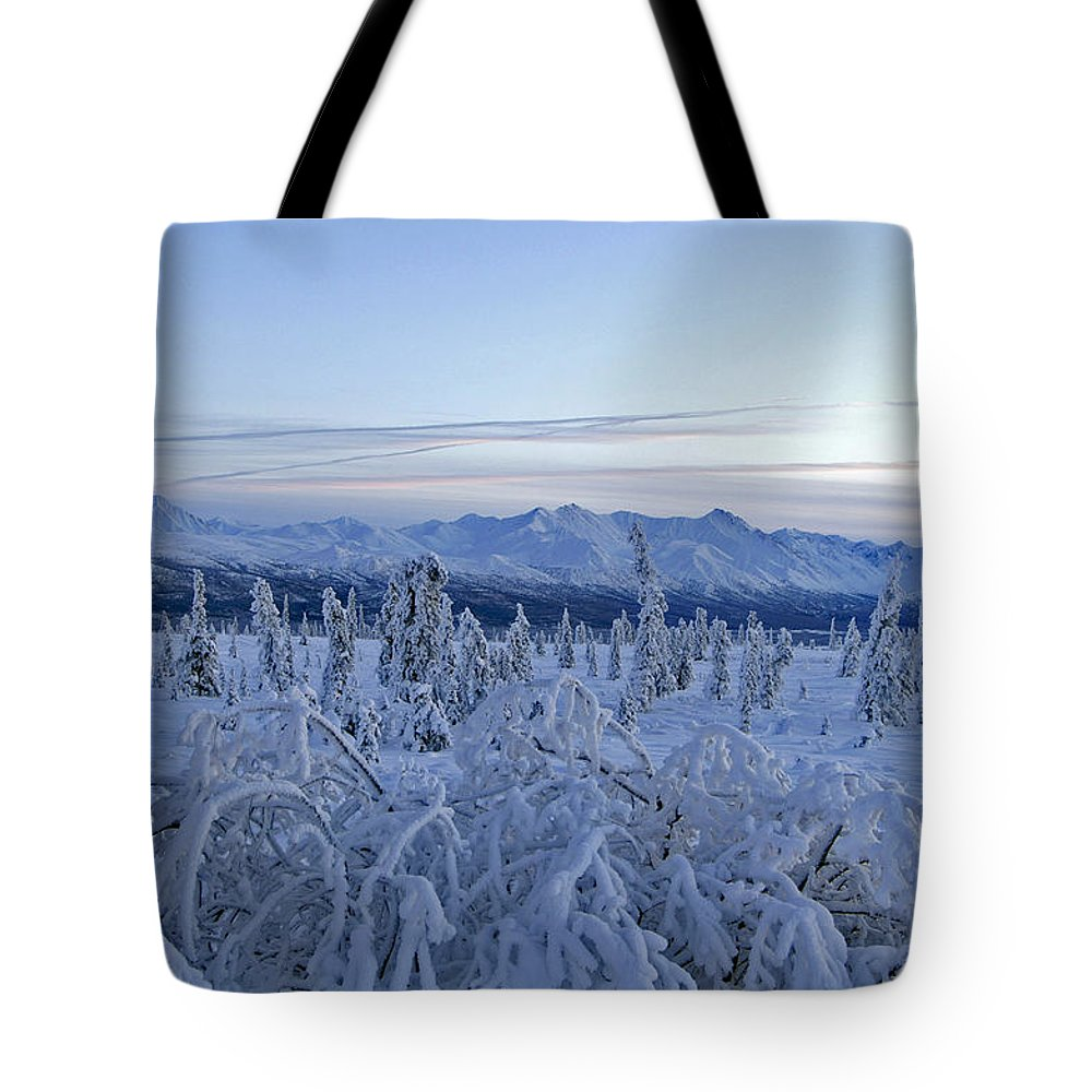 Landscapes Tote Bag featuring the photograph Goodnight Chugach by Jeremy Rhoades