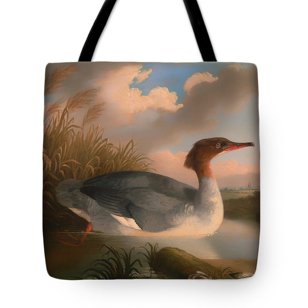 Painting Tote Bag featuring the painting Goosander by Mountain Dreams