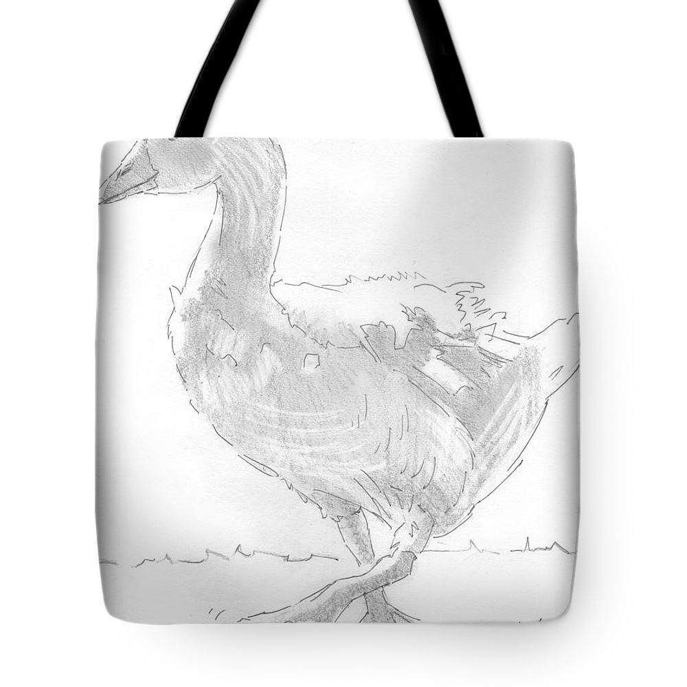 Goose Tote Bag featuring the drawing Goose Drawing by Mike Jory