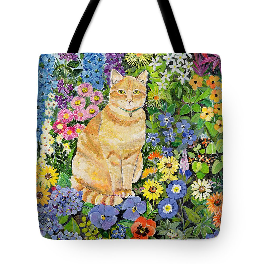 Pansy; Delphinium; Brown-eyed Susan; Lupin; Periwinkle; Ginger Tom Tote Bag featuring the painting Gordon S Cat by Hilary Jones