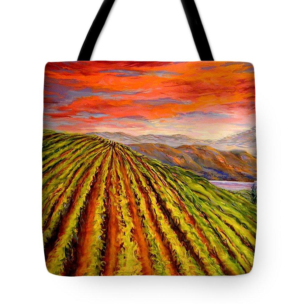 Vineyard Tote Bag featuring the painting Gorge Vineyard by Lynee Sapere