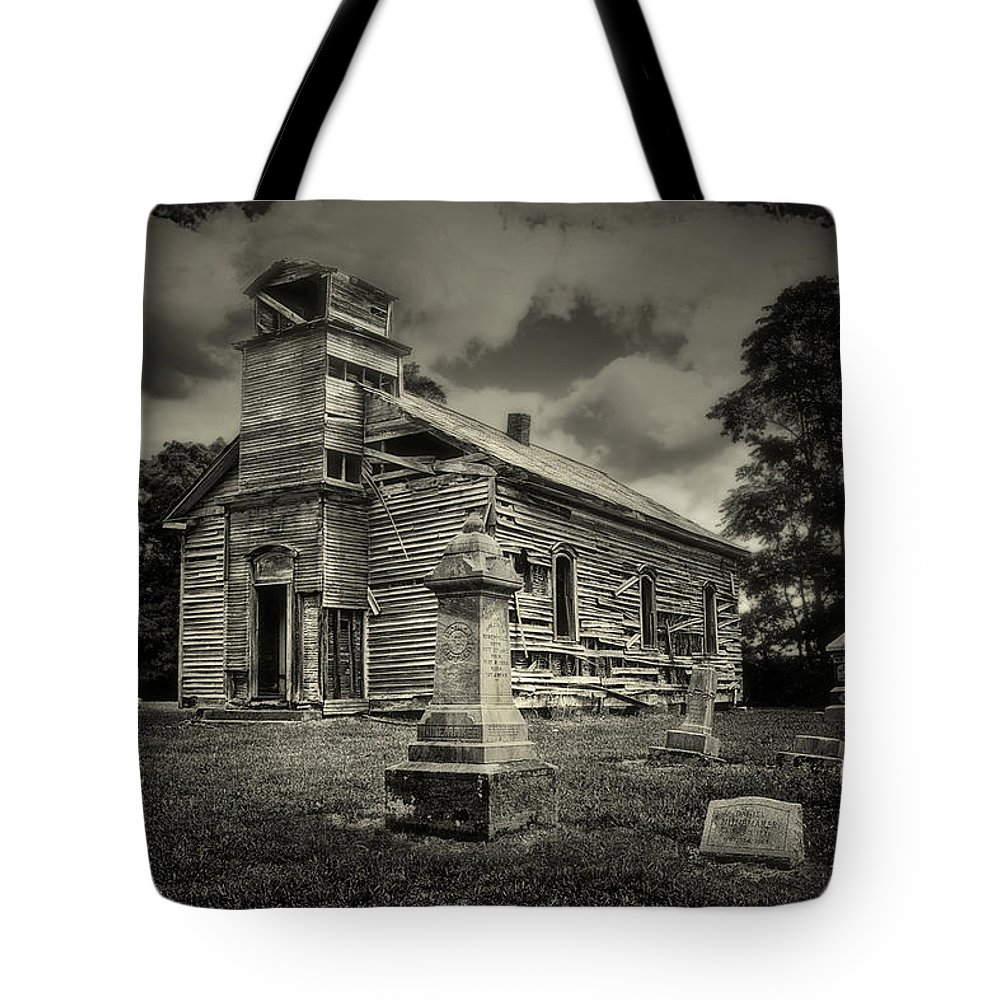 Cemetery Tote Bag featuring the photograph Gospel Center Church II by Tom Mc Nemar