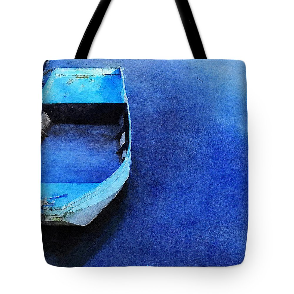 Waterscape Tote Bag featuring the painting Got The Blues by Sandy MacGowan