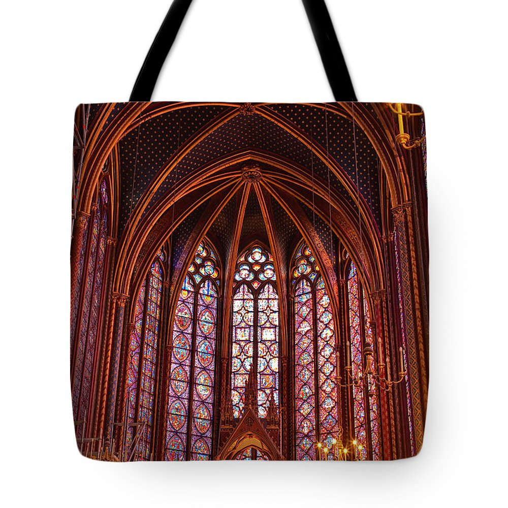 Gothic Style Tote Bag featuring the photograph Gothic Architecture Inside Sainte by Julian Elliott Photography
