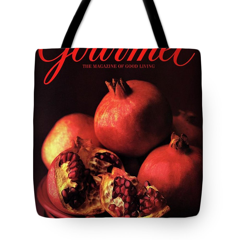 Food Tote Bag featuring the photograph Gourmet Cover Featuring A Plate Of Pomegranates by Romulo Yanes