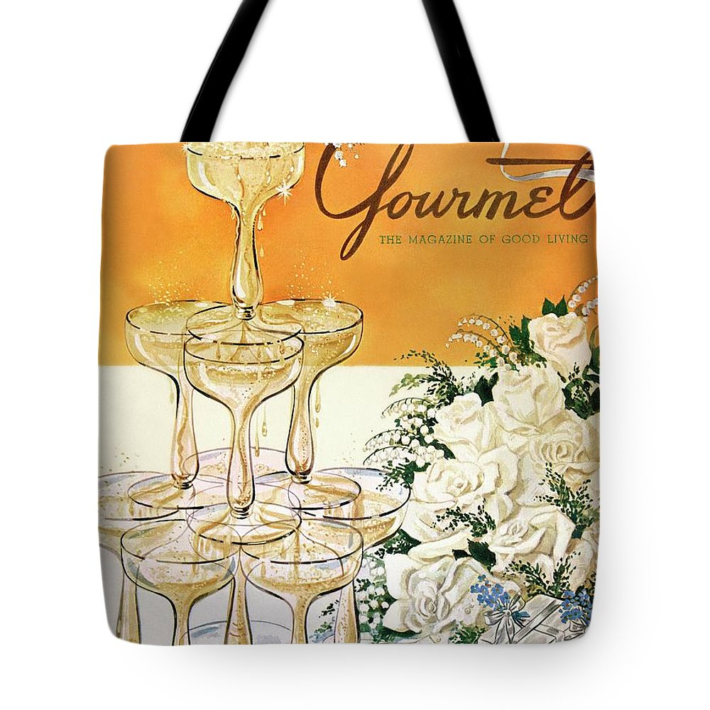 Entertainment Tote Bag featuring the photograph Gourmet Cover Featuring A Pyramid Of Champagne by Henry Stahlhut