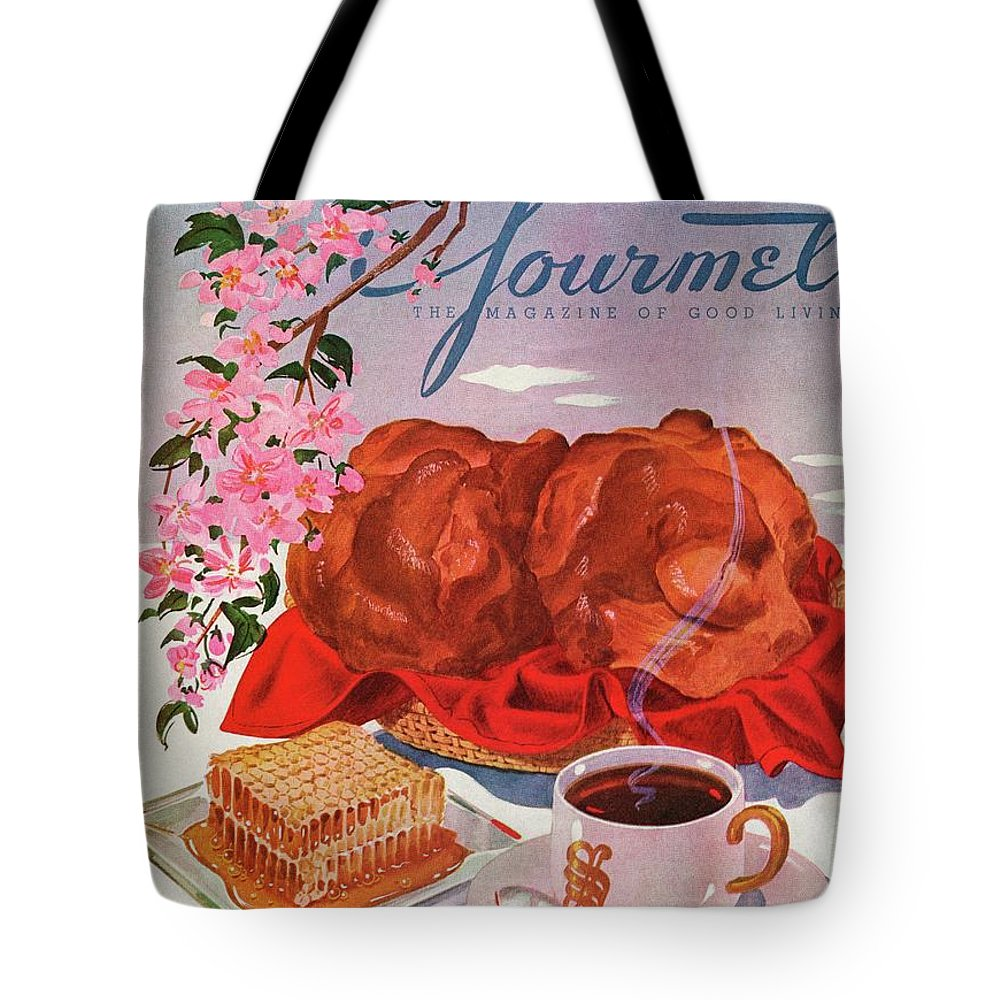 Food Tote Bag featuring the photograph Gourmet Cover Illustration Of A Basket Of Popovers by Henry Stahlhut