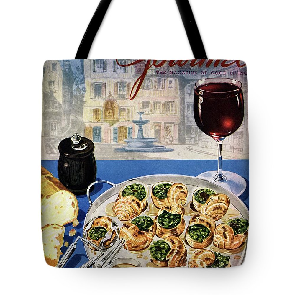 Food Tote Bag featuring the photograph Gourmet Cover Illustration Of A Platter by Henry Stahlhut
