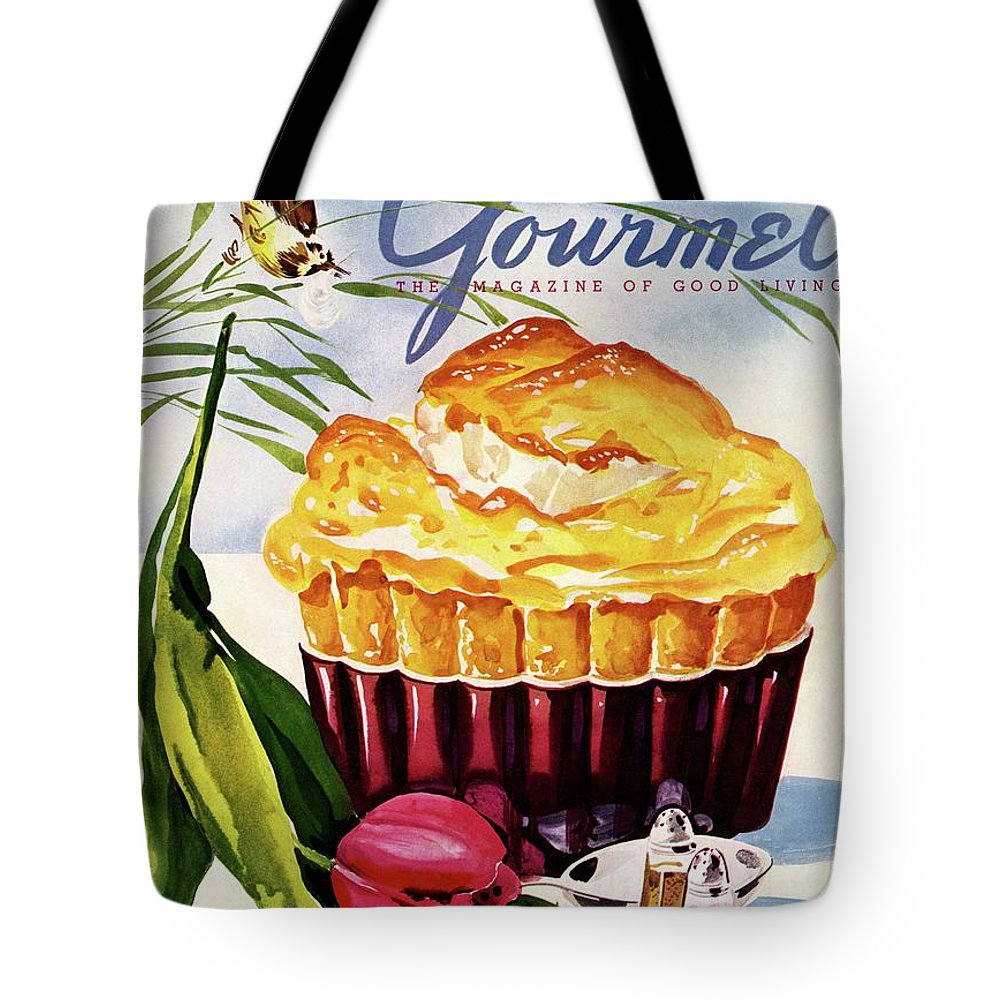 Illustration Tote Bag featuring the photograph Gourmet Cover Illustration Of A Souffle And Tulip by Henry Stahlhut