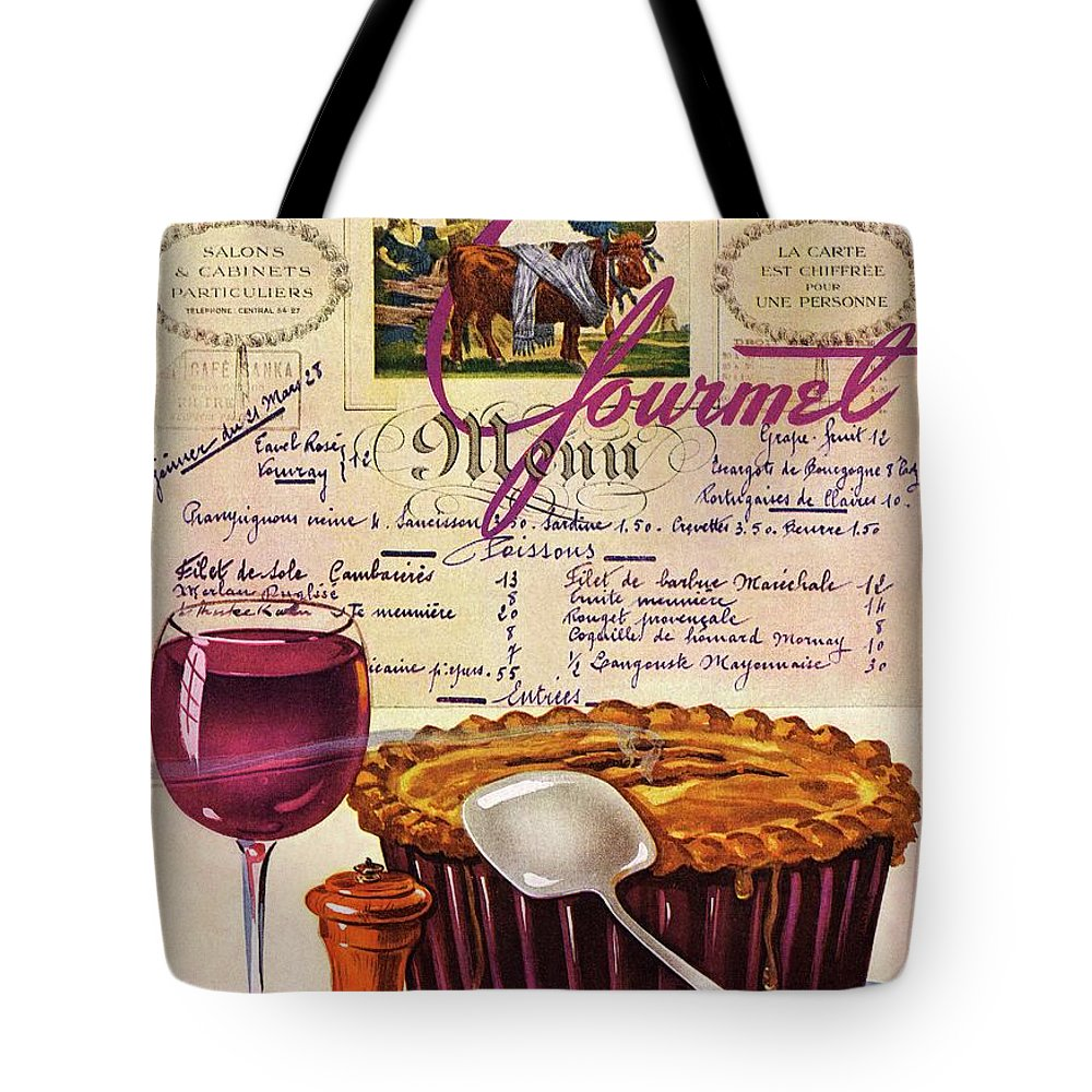 Food Tote Bag featuring the photograph Gourmet Cover Illustration Of Deep Dish Pie by Henry Stahlhut