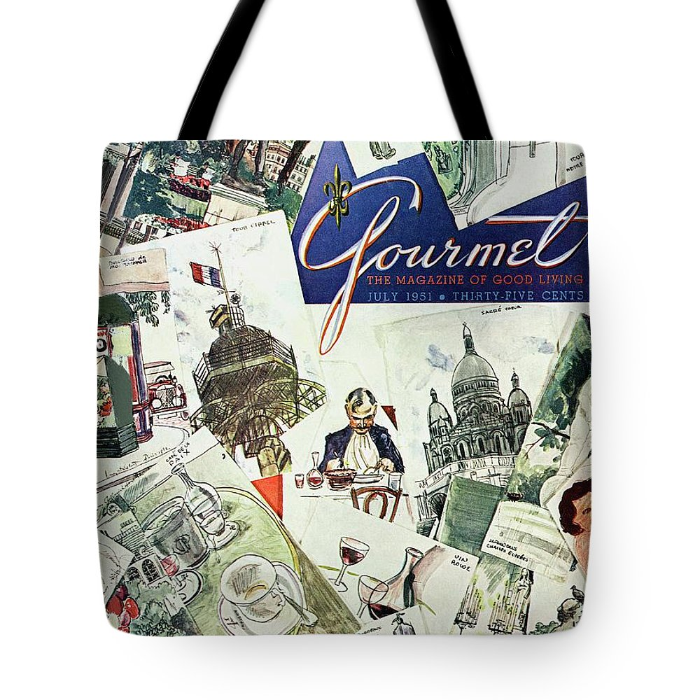 Illustration Tote Bag featuring the photograph Gourmet Cover Illustration Of Drawings Portraying by Henry Stahlhut