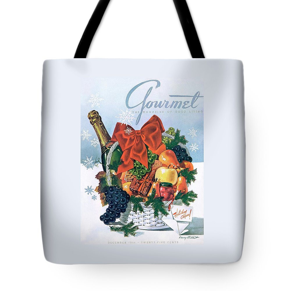 Food Tote Bag featuring the photograph Gourmet Cover Illustration Of Holiday Fruit Basket by Henry Stahlhut