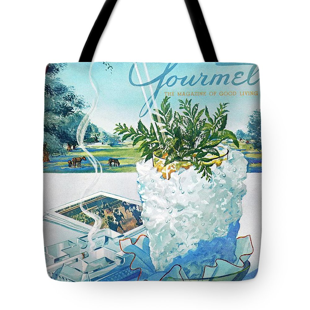 Food Tote Bag featuring the photograph Gourmet Cover Illustration Of Mint Julep Packed by Henry Stahlhut