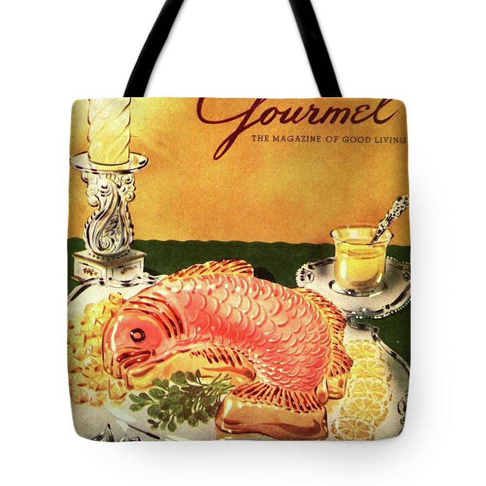 Food Tote Bag featuring the photograph Gourmet Cover Illustration Of Salmon Mousse by Henry Stahlhut