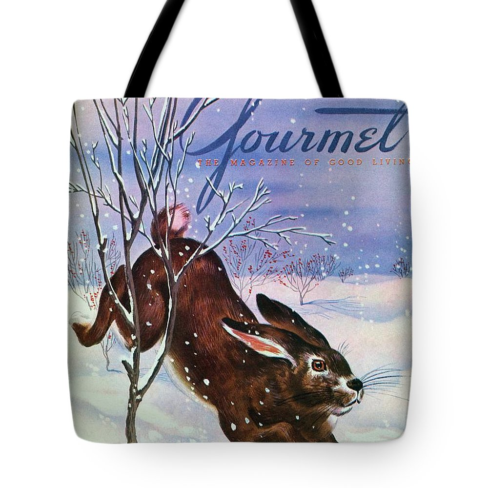 Illustration Tote Bag featuring the photograph Gourmet Cover Of A Rabbit On Snow by Henry Stahlhut