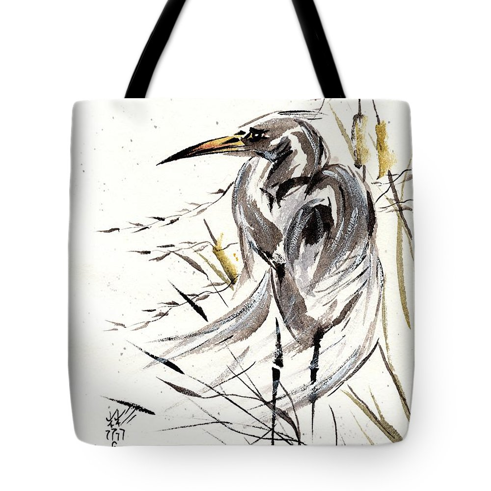 Chinese Brush Painting Tote Bag featuring the painting Grace Of Solitude by Bill Searle
