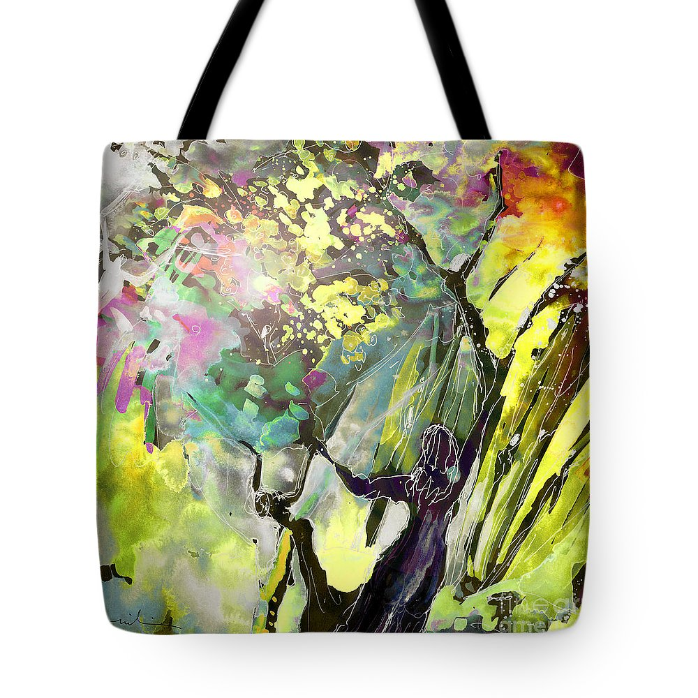 Fantasy Tote Bag featuring the painting Grace Under Pressure by Miki De Goodaboom