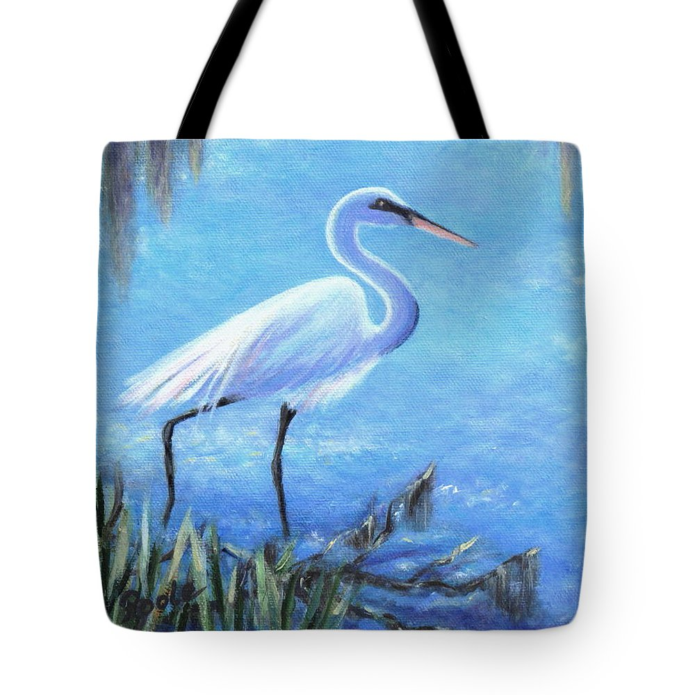 Egret Tote Bag featuring the painting Graceful Stroll At Magnolia Gardens by Pamela Poole