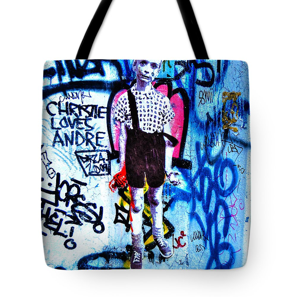 Child With Toy Hand Grenade Tote Bag featuring the photograph Graffiti Rendition Of Diane Arbus's Photo - Child With Toy Hand Grenade In Central Park by Randy Aveille