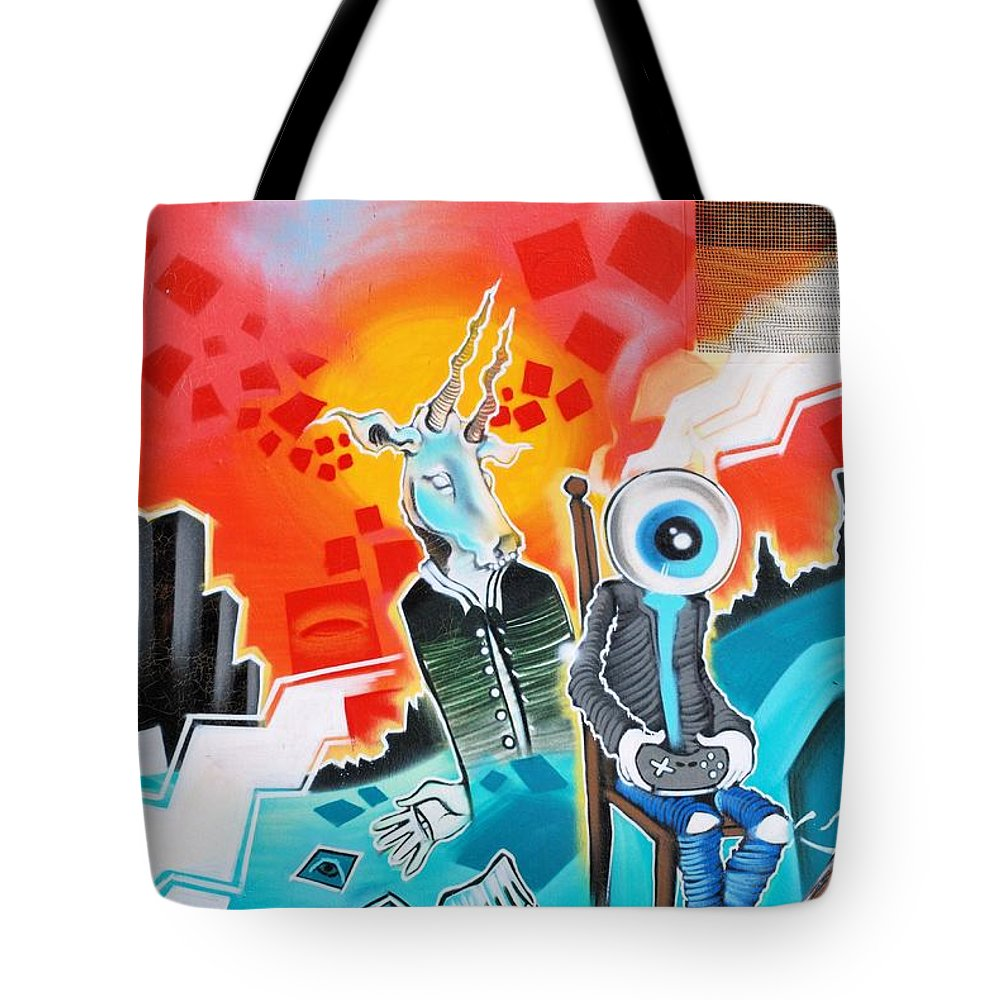 Textured Tote Bag featuring the painting Graffiti by FL collection