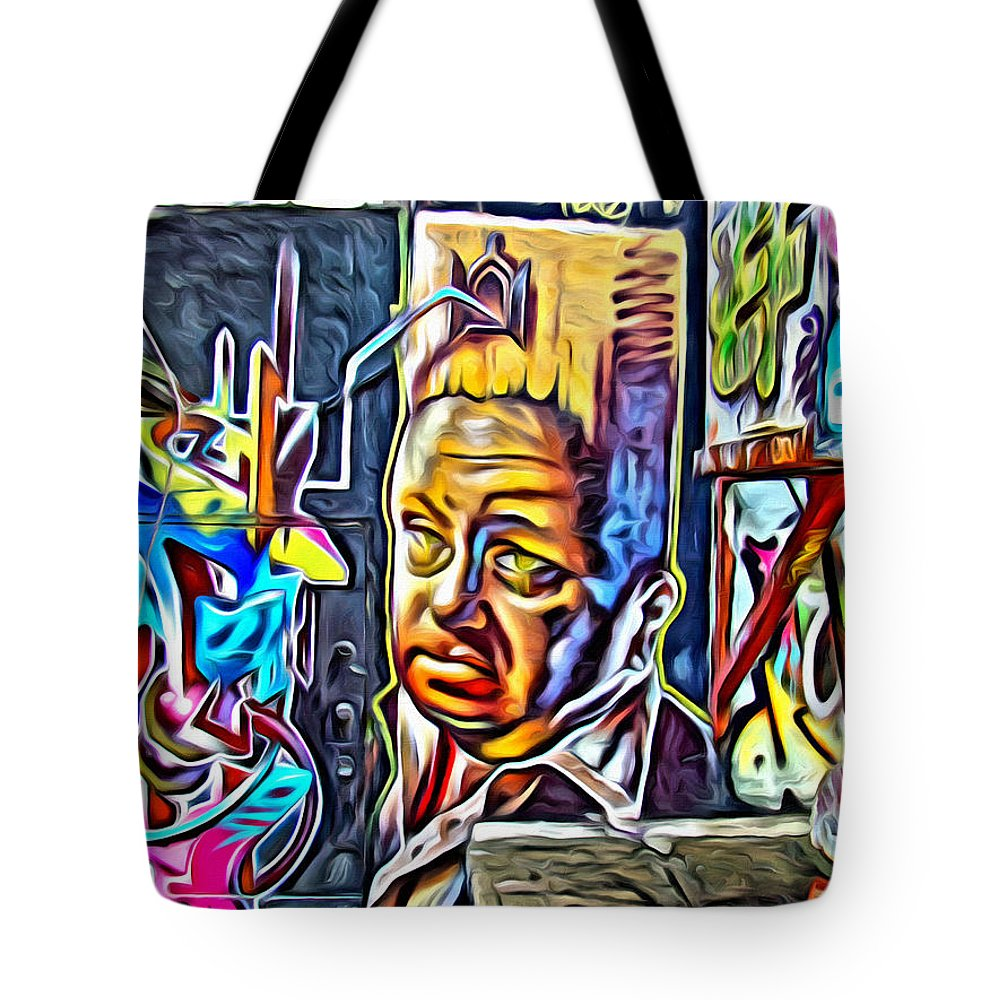 Grafitti Tote Bag featuring the photograph Grafitti Three Head by Alice Gipson