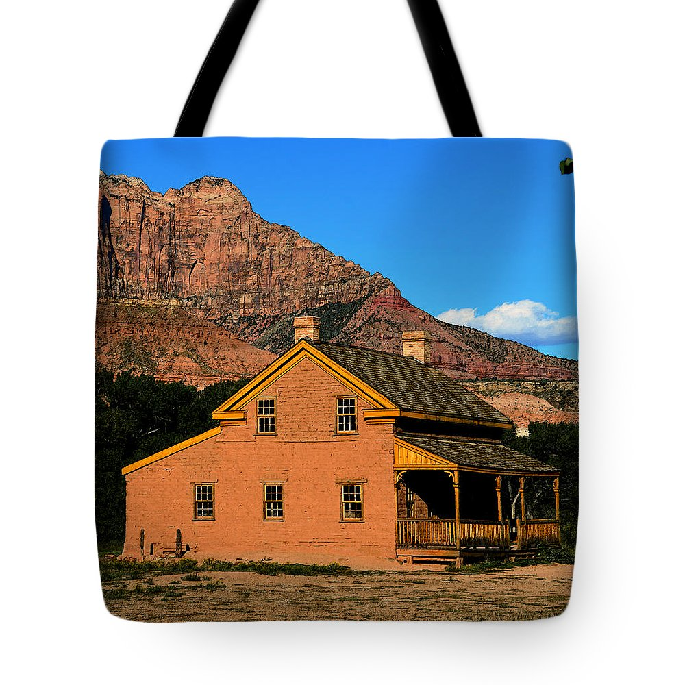Russell Home 1866 Tote Bag featuring the painting Grafton Utah 1866 by David Lee Thompson