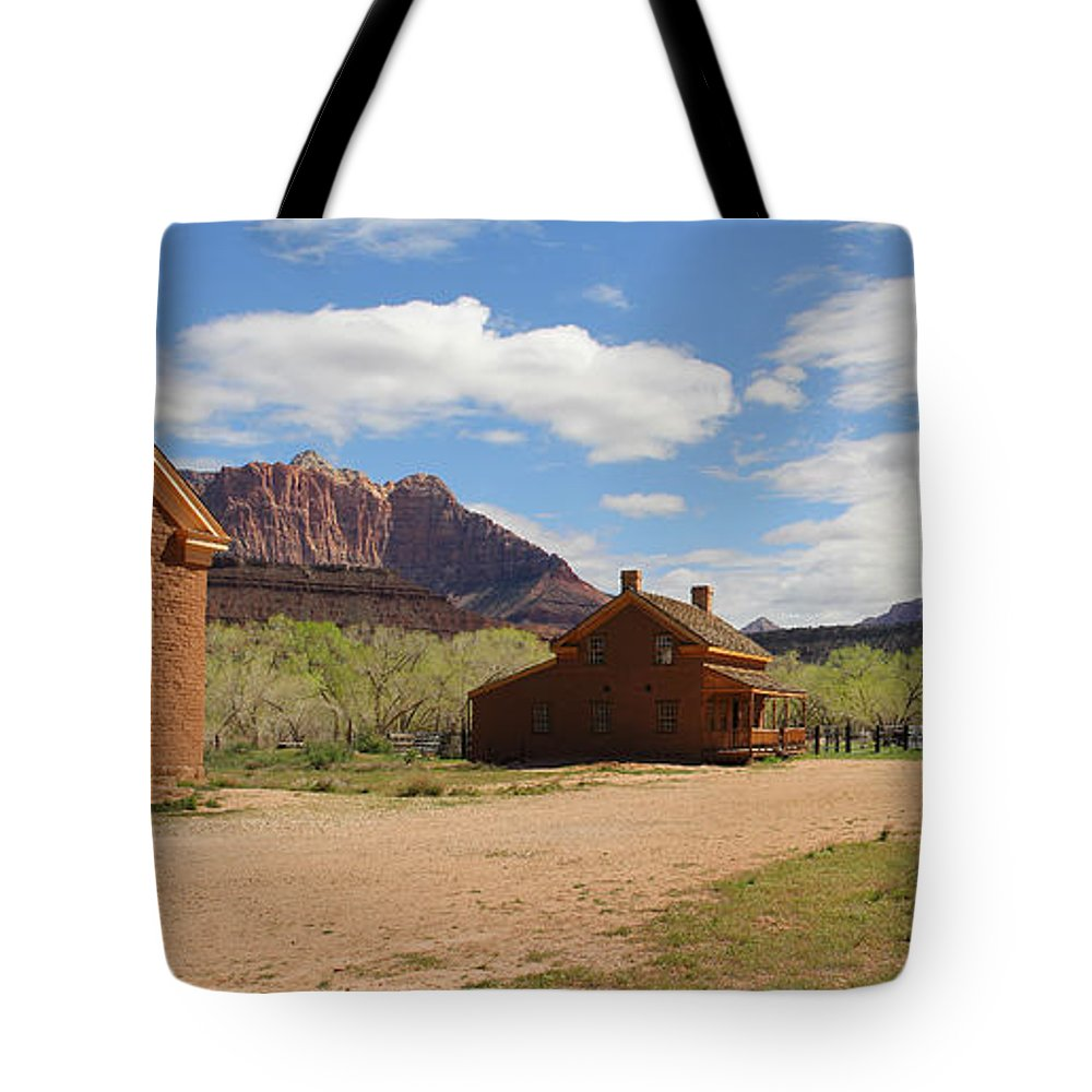 Grafton Utah Tote Bag featuring the photograph Grafton Utah Butch Cassidy Movie Set Panorama by Jack Schultz