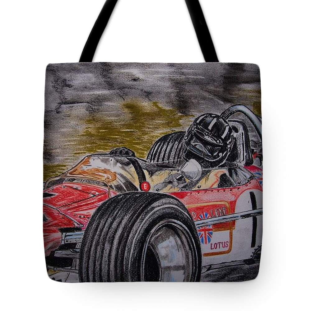 Grahama Hill Tote Bag featuring the painting Graham Hill Mr Monaco by Juan Mendez