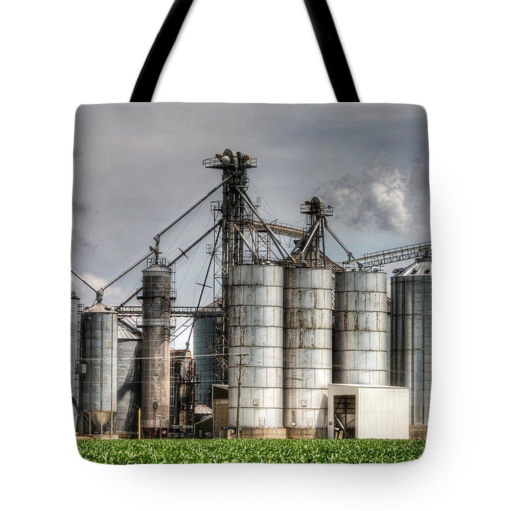 Grain Elevators Tote Bag featuring the photograph Grain Elevators by Roger Passman