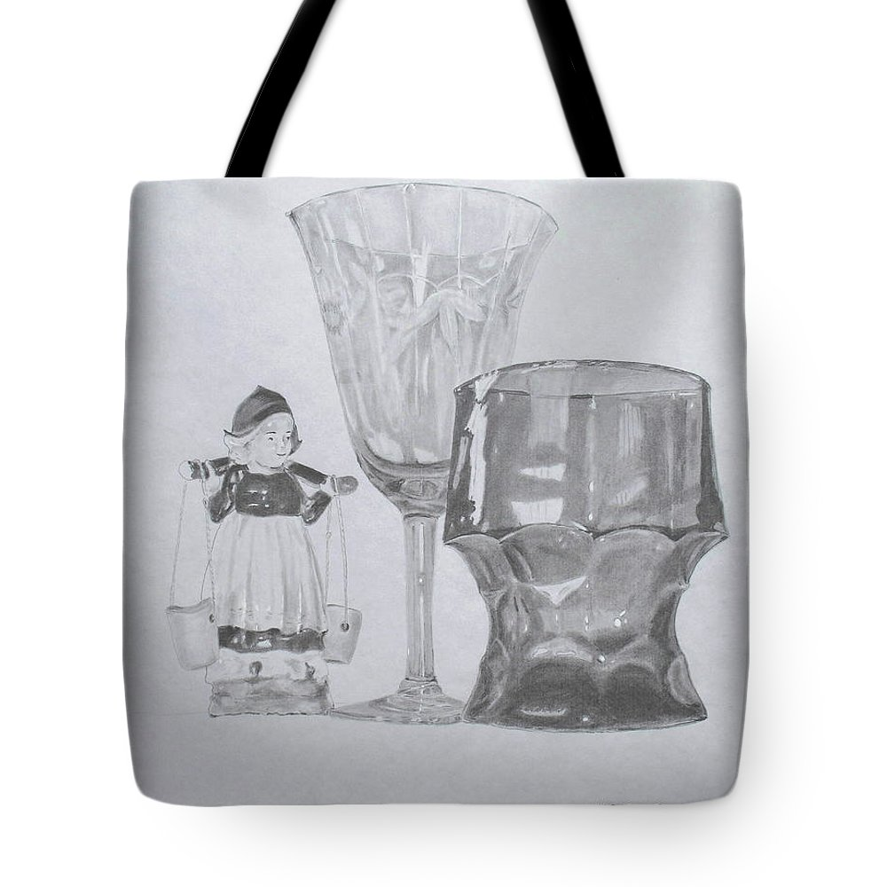 Glassware Tote Bag featuring the drawing Grammas Glasses by Mary Ellen Mueller Legault