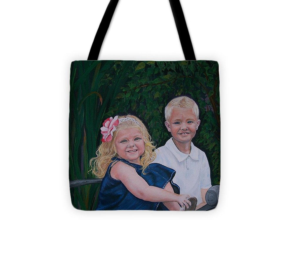 Figurative Tote Bag featuring the painting Grampa And Gramma's Joy by Sharon Duguay
