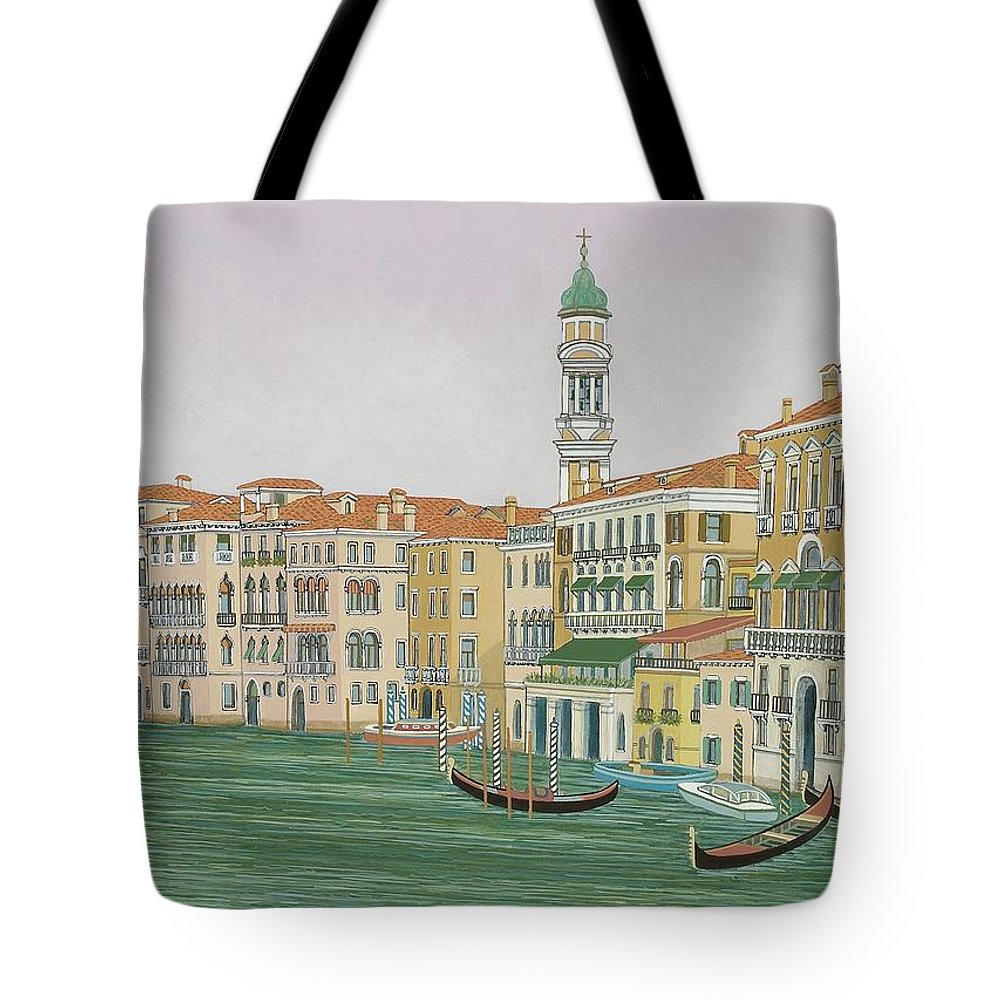 Venice Tote Bag featuring the painting Grand Canal by David Hinchen