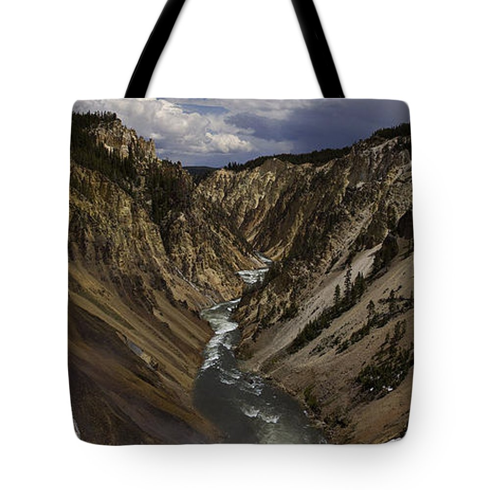 Grand Canyon Of The Yellowstone Tote Bag featuring the photograph Grand Canyon Of The Yellowstone - 25x63 by J L Woody Wooden