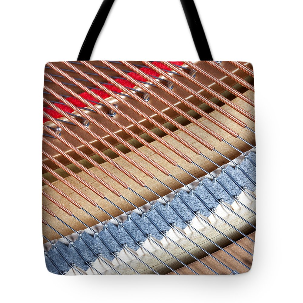Clarence Holmes Tote Bag featuring the photograph Grand Piano Strings by Clarence Holmes