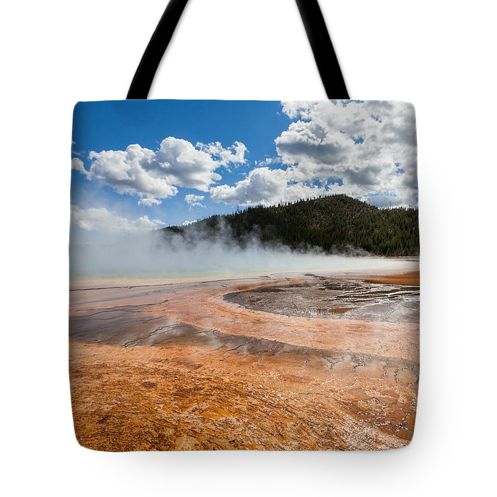 Grand Prismatic Spring Tote Bag featuring the photograph Grand Prismatic Spring by Fran Riley