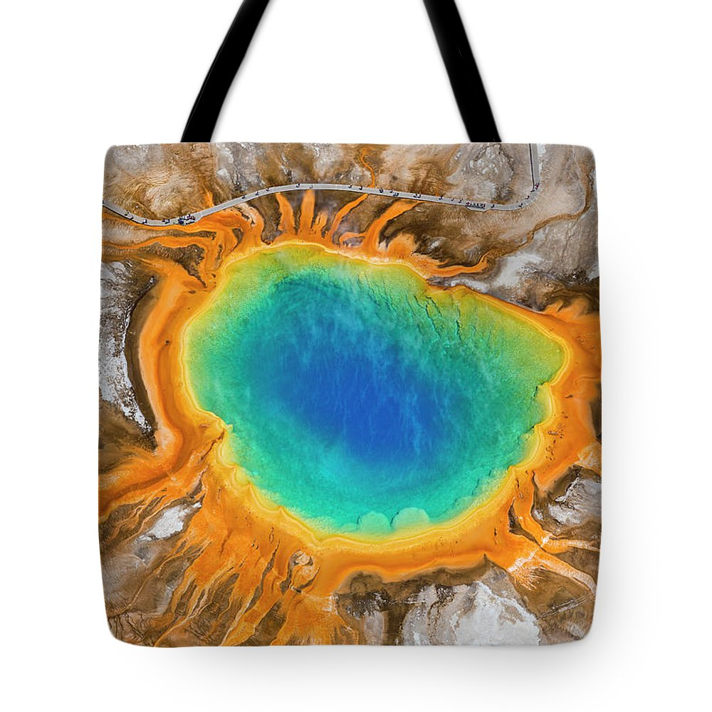 Natural Pattern Tote Bag featuring the photograph Grand Prismatic Spring, Yellowstone by Peter Adams