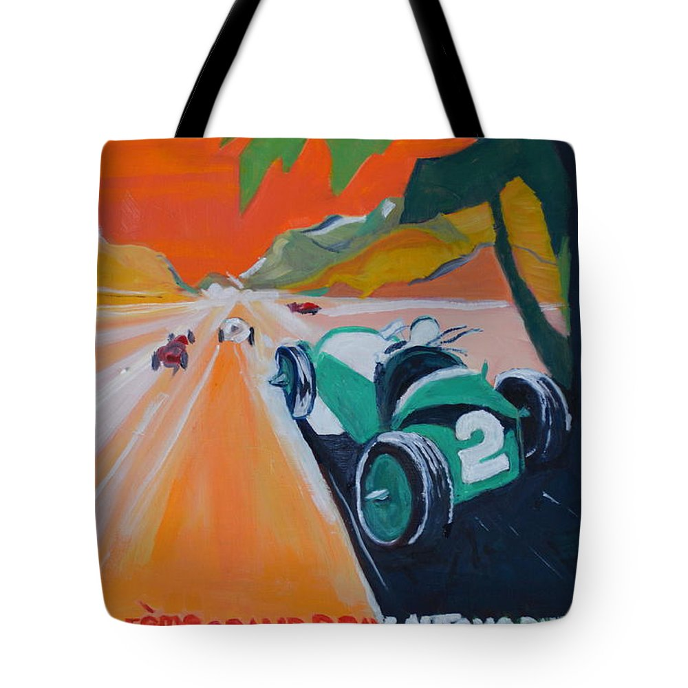 Race Cars Tote Bag featuring the painting Grand Prix by Julie Todd-Cundiff