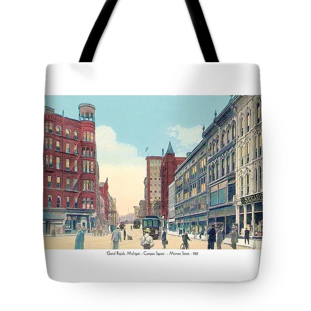 Grand Rapids Tote Bag featuring the digital art Grand Rapids - Michigan - Campau Square And Monroe Street - 1912 by John Madison