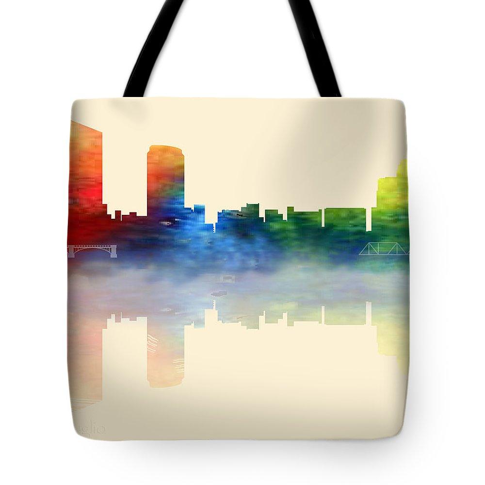 Grand Rapids Tote Bag featuring the digital art Grand Rapids Michigan Skyline 2 by Loretta Luglio