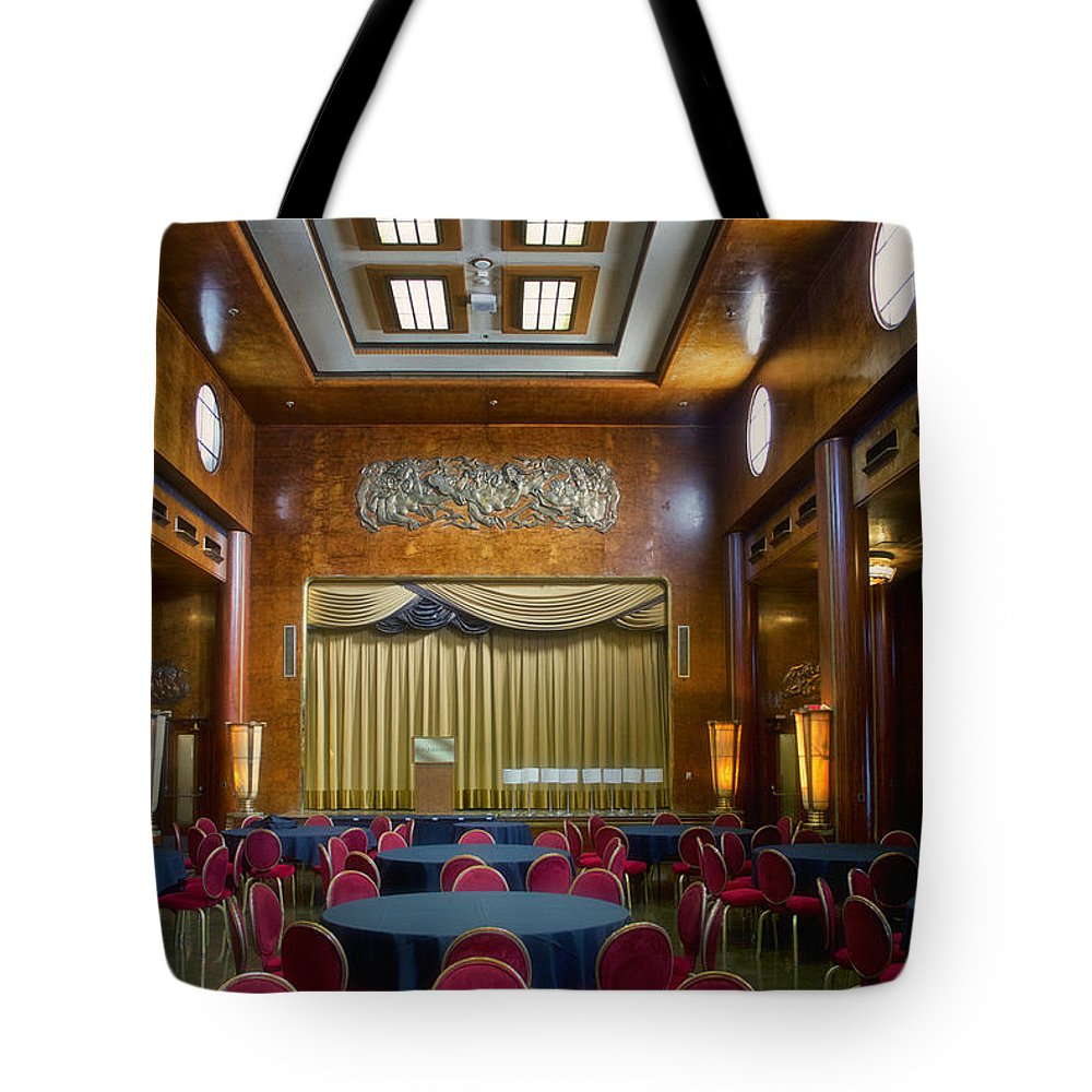 Queen Mary Tote Bag featuring the photograph Grand Salon 02 Queen Mary Ocean Liner by Thomas Woolworth