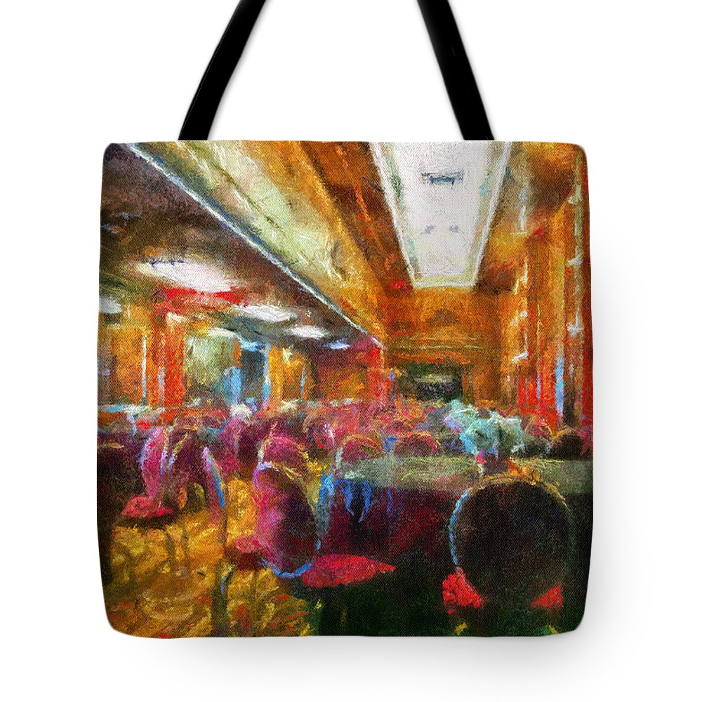 Queen Mary Tote Bag featuring the photograph Grand Salon 05 Queen Mary Ocean Liner Photo Art 02 by Thomas Woolworth