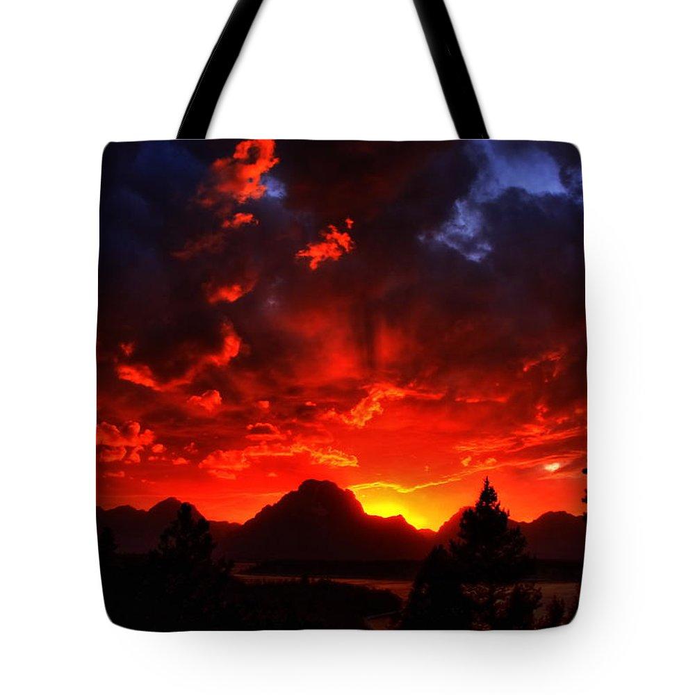 Grand Tetons Tote Bag featuring the photograph Grand Teton Sunset by Aidan Moran