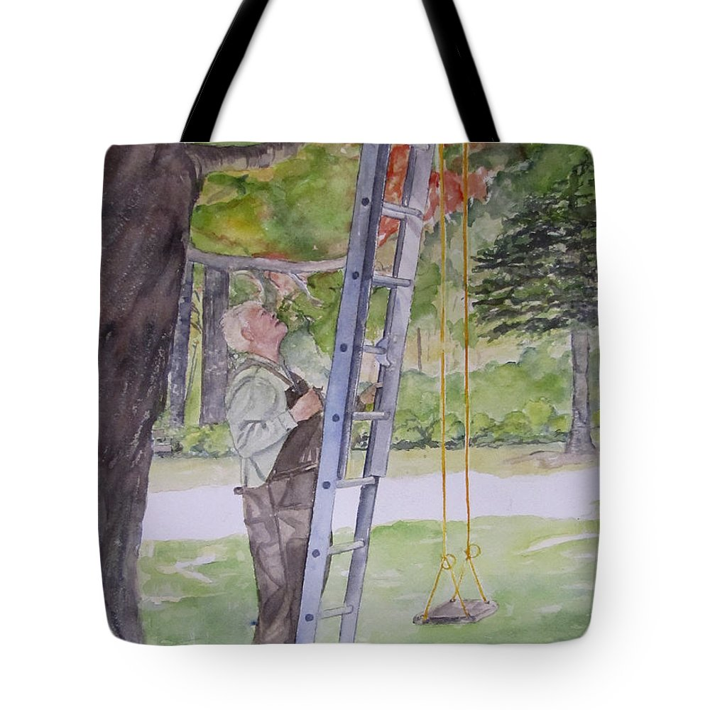 Grandfather Tote Bag featuring the painting Grandad by Carol Flagg
