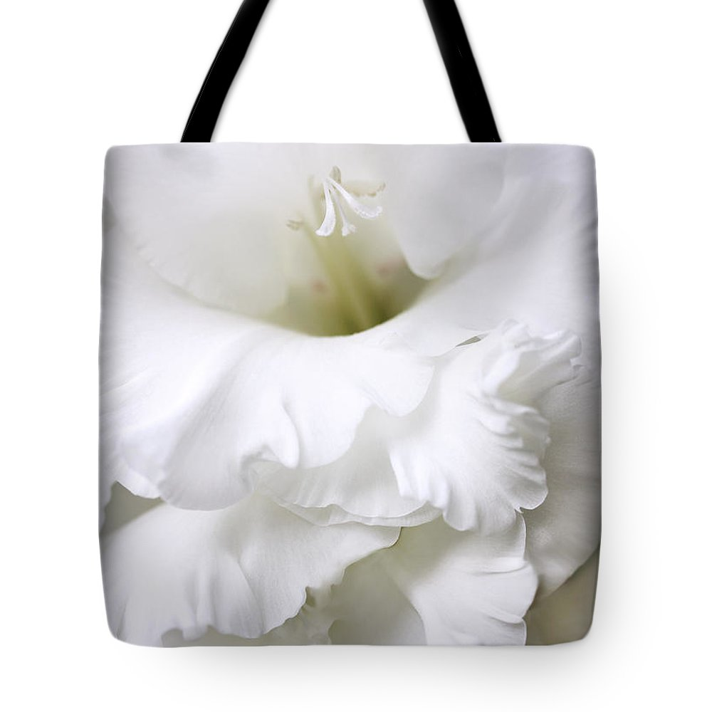 Gladiola Tote Bag featuring the photograph Grandiose White Gladiola Flower by Jennie Marie Schell